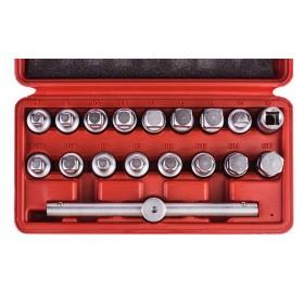 """Oil plug key set, 3/8"""", 18 pcs"""
