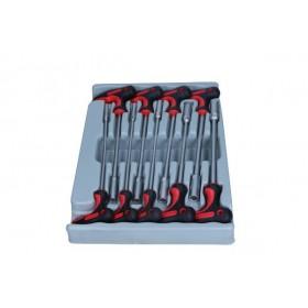 Hex nut driver T handle set, 9 pcs, module 2/3