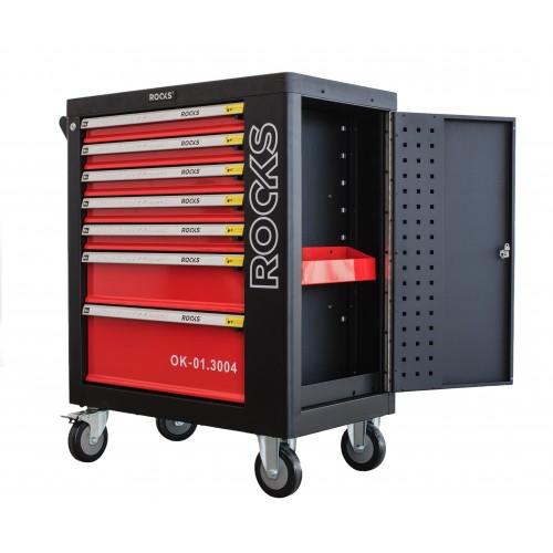Szafka narzędziowa rooks garage z narzędziami 235 cz, w modułach z trwałego materiału eps z dodatkową szafką boczną.