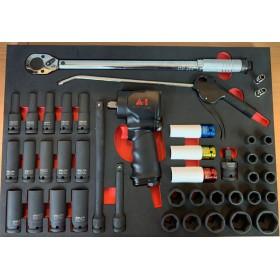Zestaw narzędzi udarowych w module do ,szafki narzędziowej 42 części /selta, rooks/